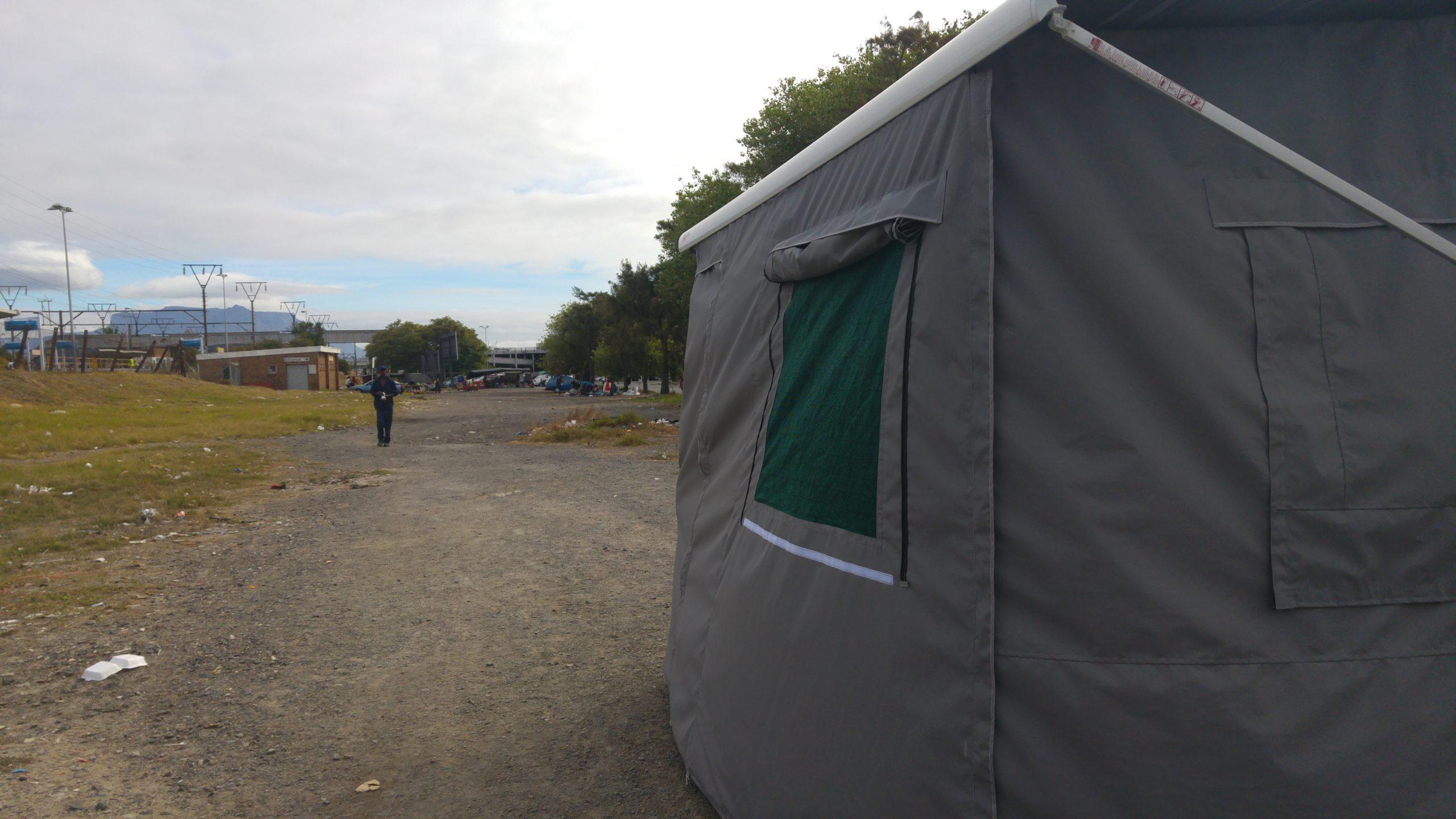 Grey tent